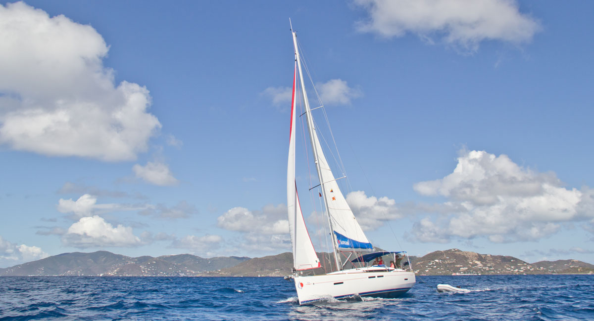 Sunsail boat sailing in the Caribbean